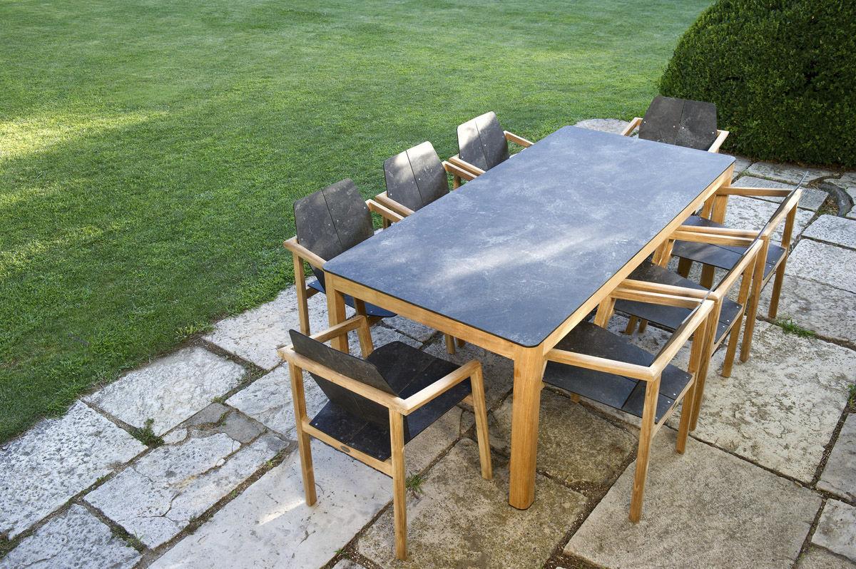 Table Contemporaine En Teck En Hpl Rectangulaire Tekura By  # Salon De Jardin Plateau Hpl