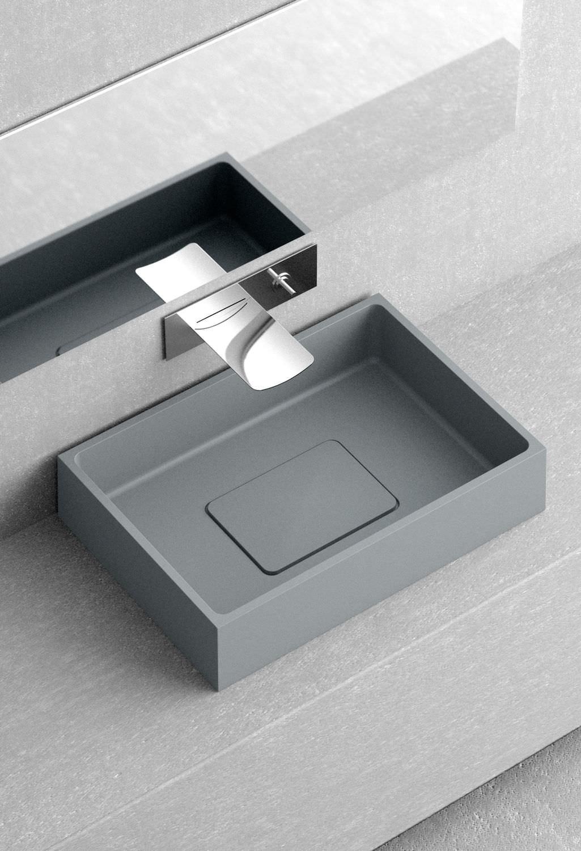 vasque lave main a poser lave-mains à poser - rectangulaire - en céramique - MAESTRO