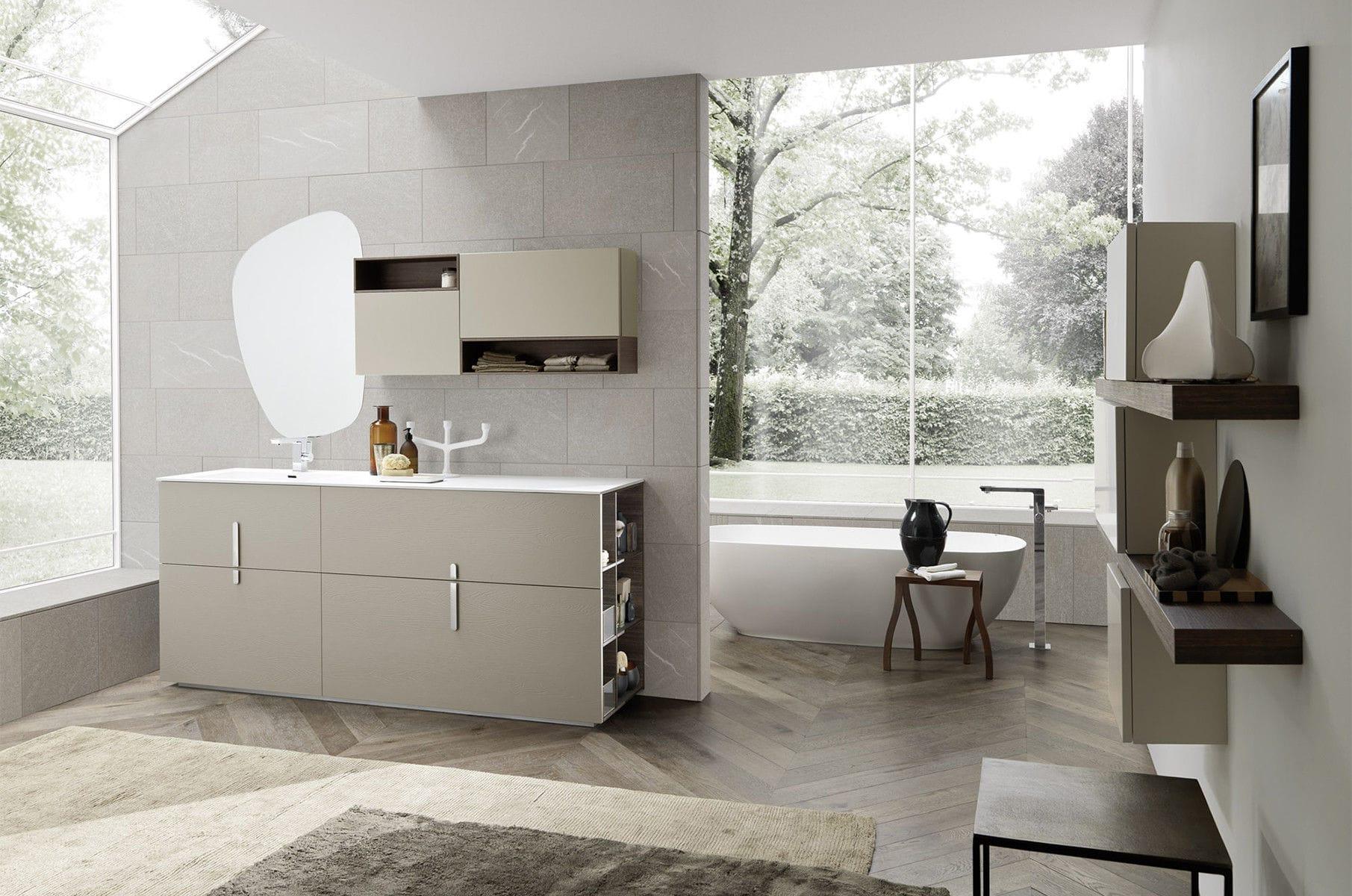 Salle de bain contemporaine / en céramique / en bois / en mélaminé ...