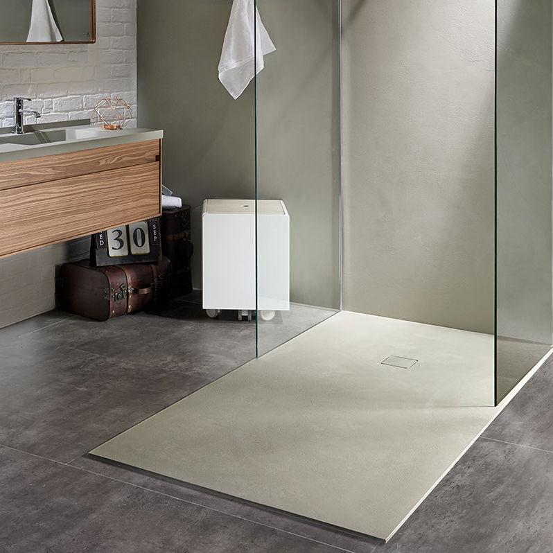 receveur de douche rectangulaire en composite antidrapant extra plat base beton - Aquabella Salle De Bain