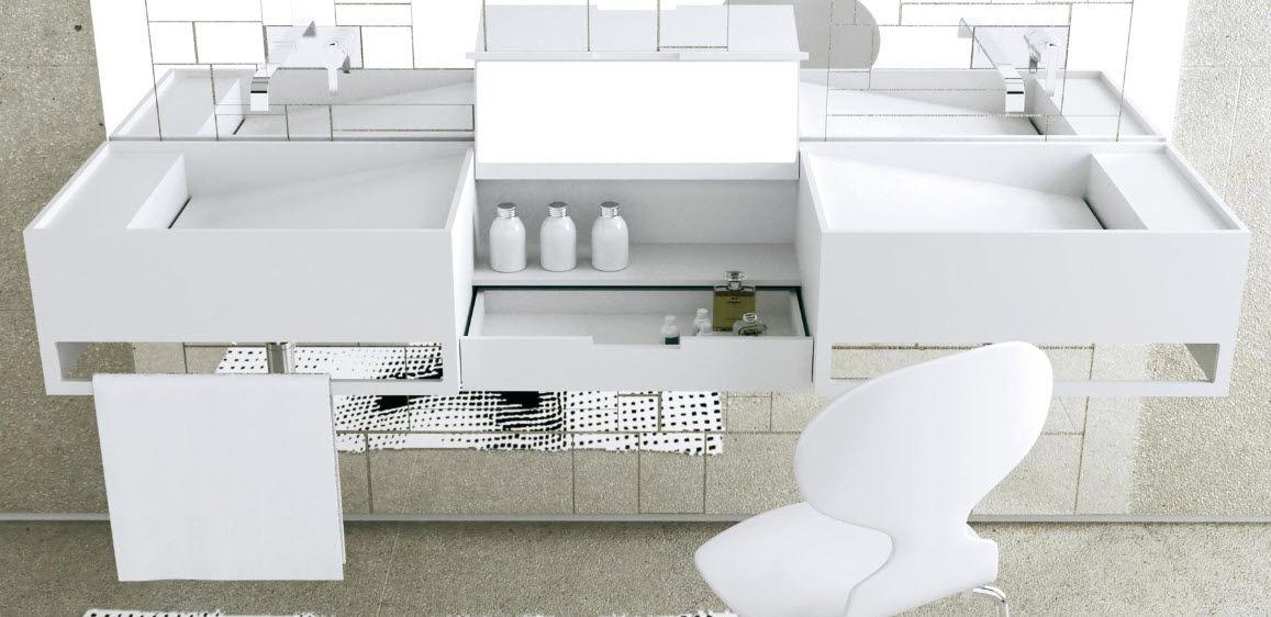 vasque double / suspendue / rectangulaire / en corian® - coiffeuse ... - Coiffeuse Meuble Design