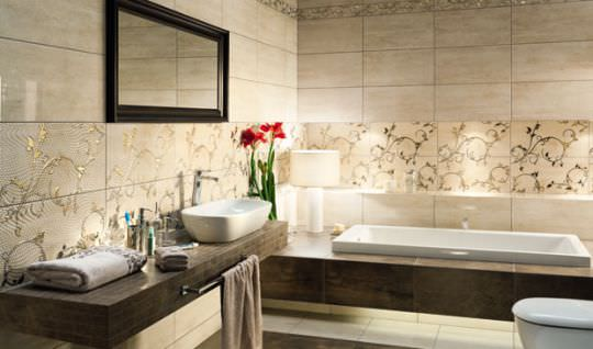awesome carrelage salle de bain beige contemporary - design trends ... - Salle De Bain Beige Et Marron