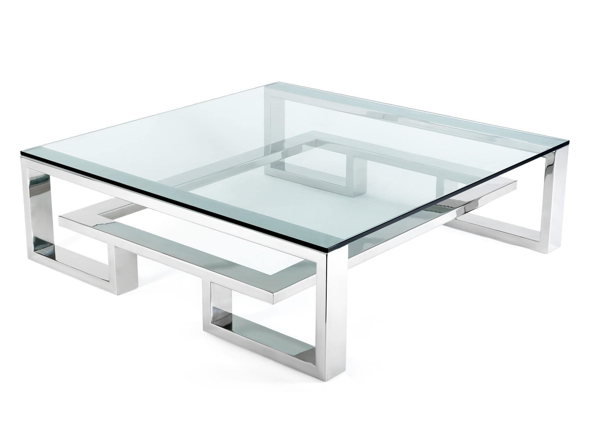 Table Basse Contemporaine En Verre En Acier Inoxydable Carree