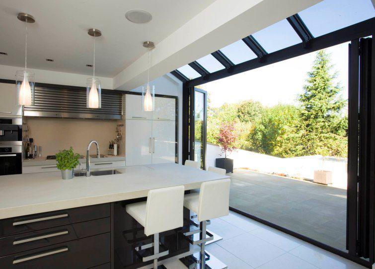 Baie vitrée coulissante-empilable / en aluminium / à double vitrage ...