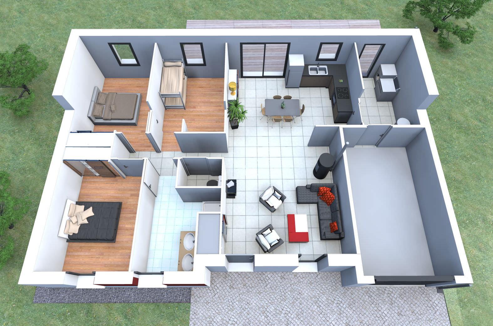 Amazing recevoir des devis maison bois maison type tages datis sl alliance with plan de maison type