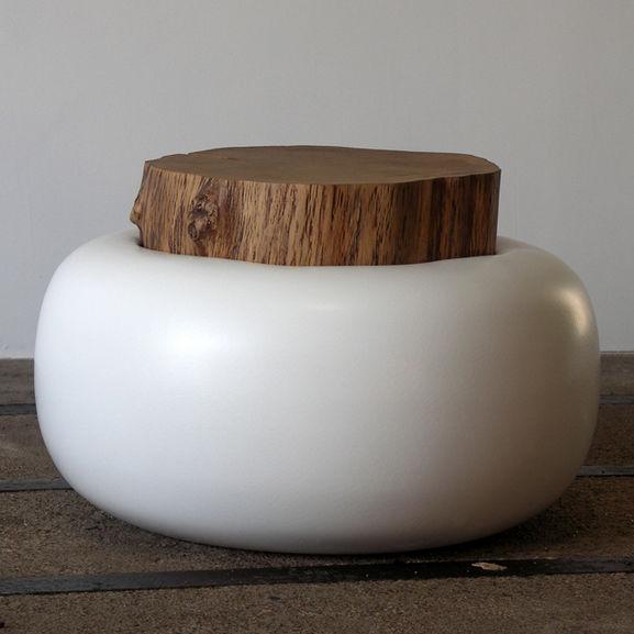 Résine Original Ronde Chêne Design En Basse Table HeIYD9WE2