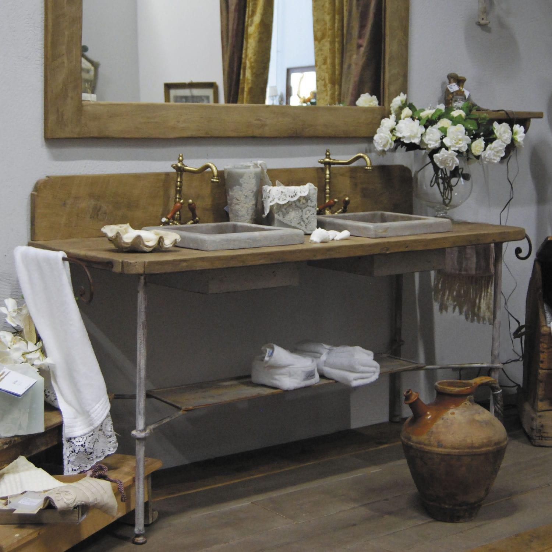 Meuble vasque à poser / en bois / classique   romarin   bleu provence