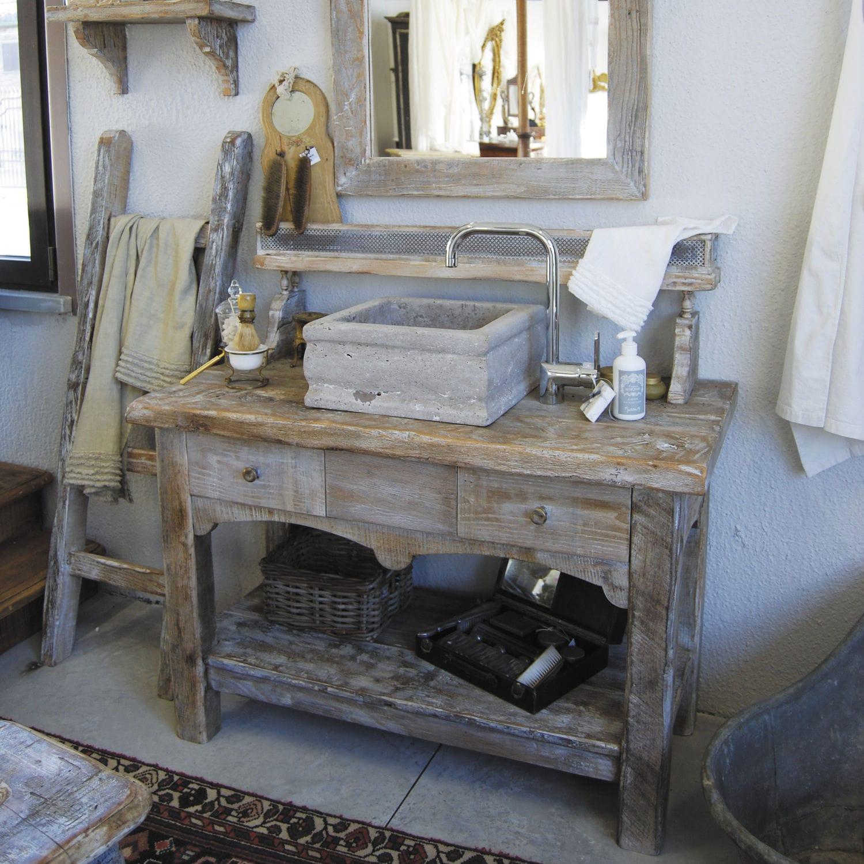 Meuble vasque à poser / en bois / classique   vintage   bleu provence