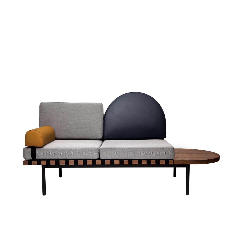Méri nne contemporaine en tissu en cuir en bois GRID by