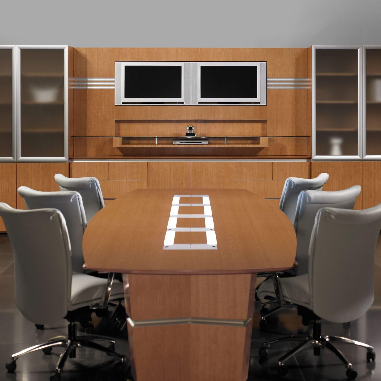 table de conférence contemporaine / en bois / rectangulaire / avec