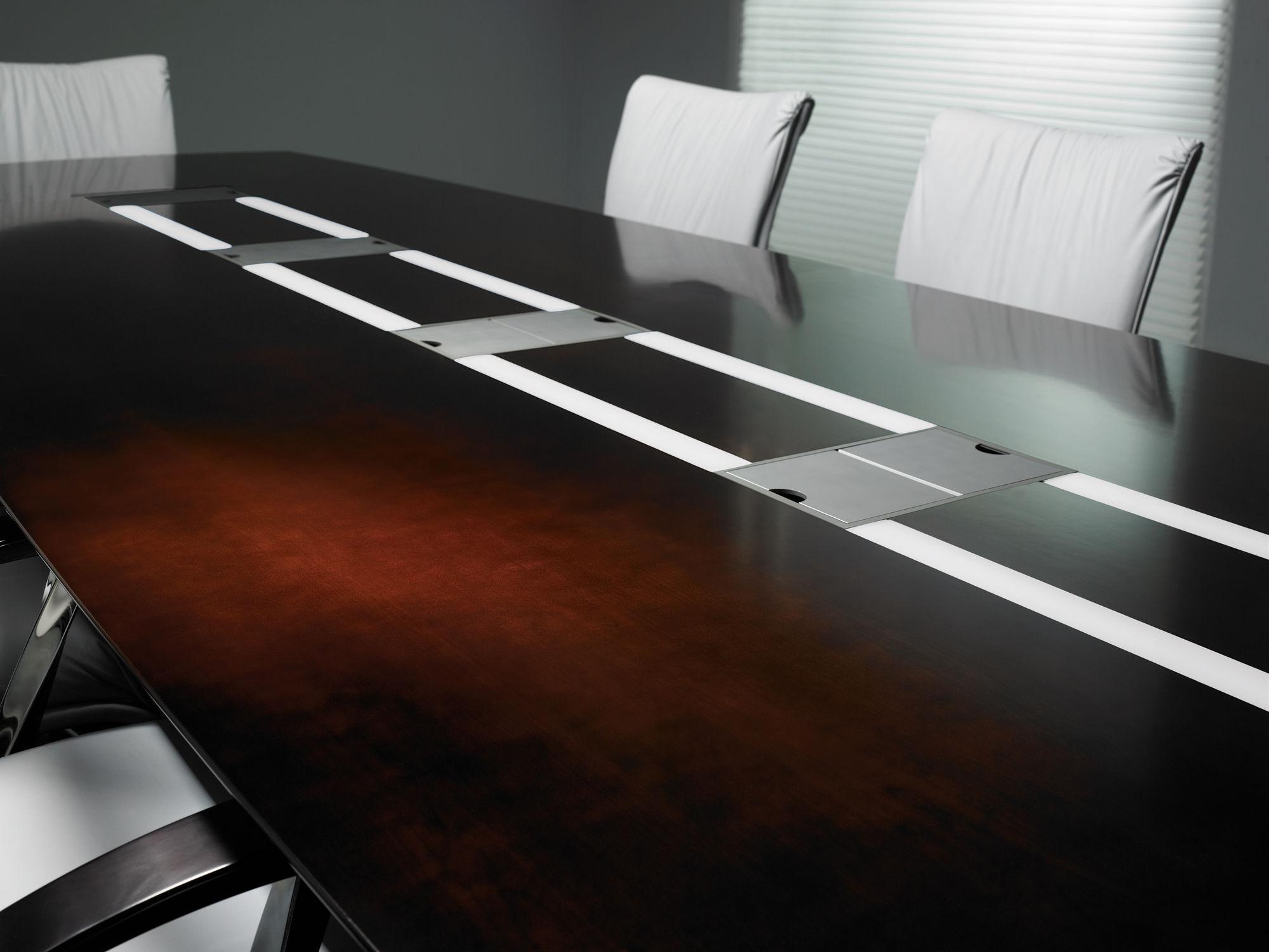 Table de conf rence contemporaine en bois - Table a repasser avec prise integree ...