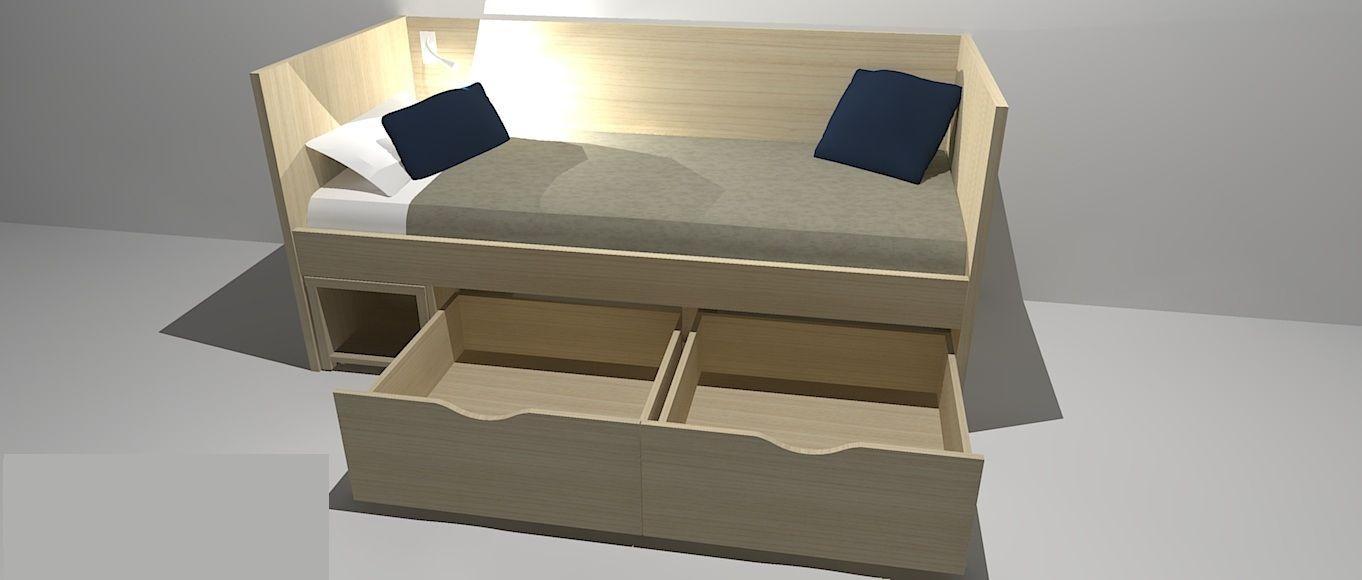 Lit Simple Contemporain Avec Tables De Chevet Intégrées Avec - Lit simple avec rangement integre