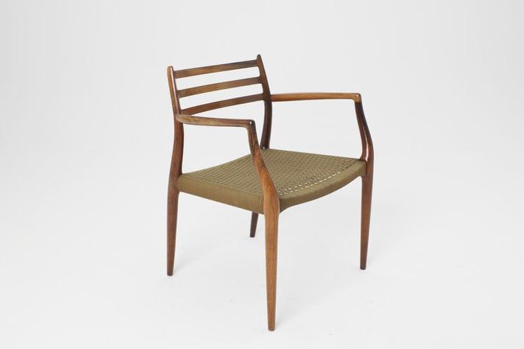 chaise design scandinave avec accoudoirs en bois massif en bois de rose - Chaise Accoudoir Scandinave