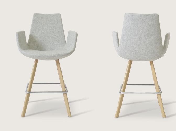 chaise de bar contemporaine / en noyer / en acier / en cuir ... - Chaise Bar Avec Accoudoir
