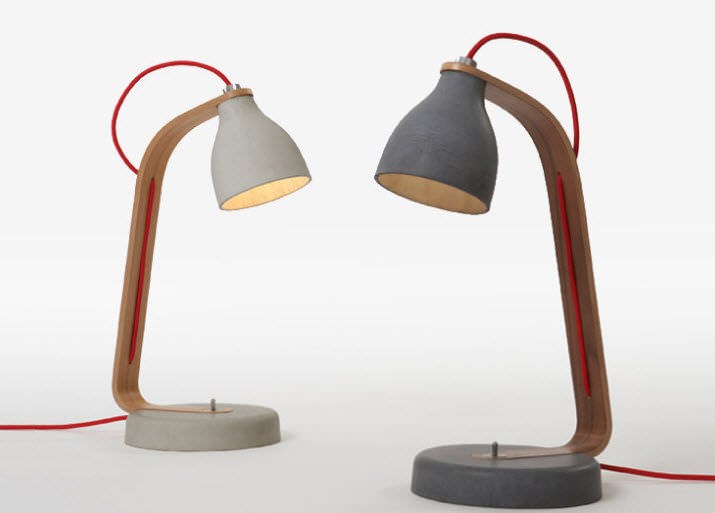 Lampe De Bureau / Contemporaine / En Béton / En Bois - Heavy By