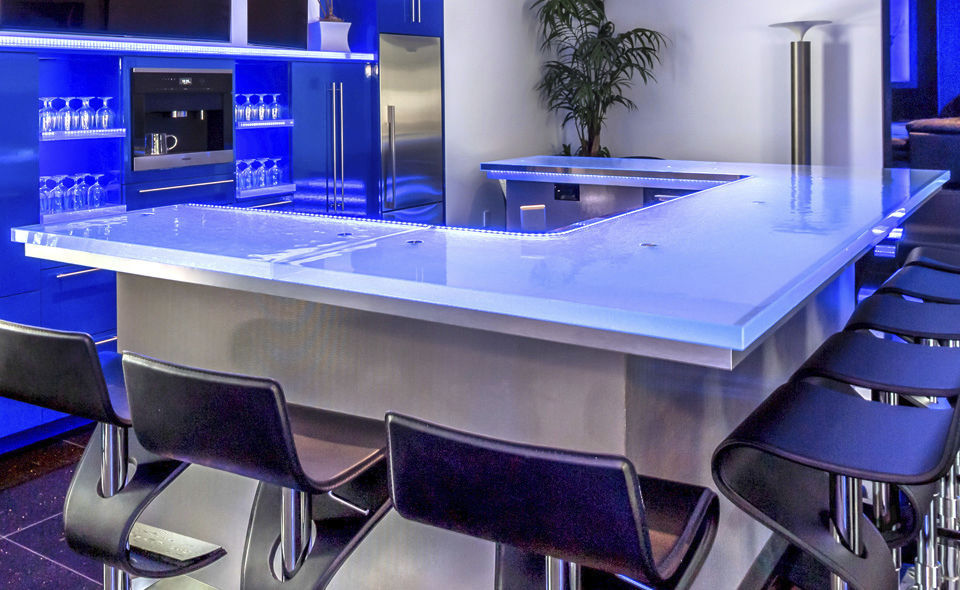 Meuble bar contemporain / en verre / sur mesure / lumineux - 5 ...
