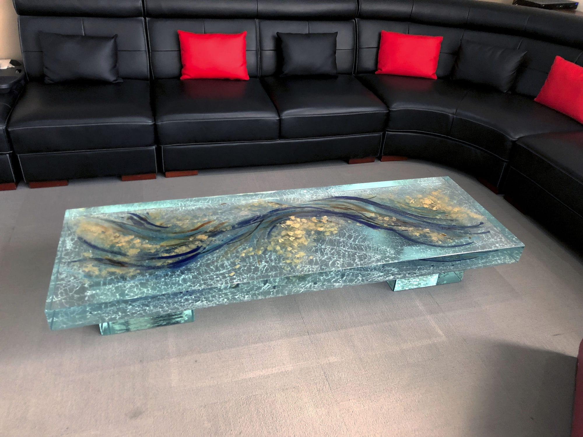 Table Basse Design Original En Verre Rectangulaire De Salon