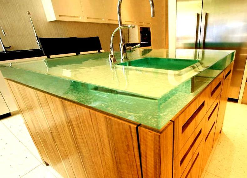 Sehr Plan de travail en verre / de cuisine - CRYSTAL BLOC - ThinkGlass BJ29