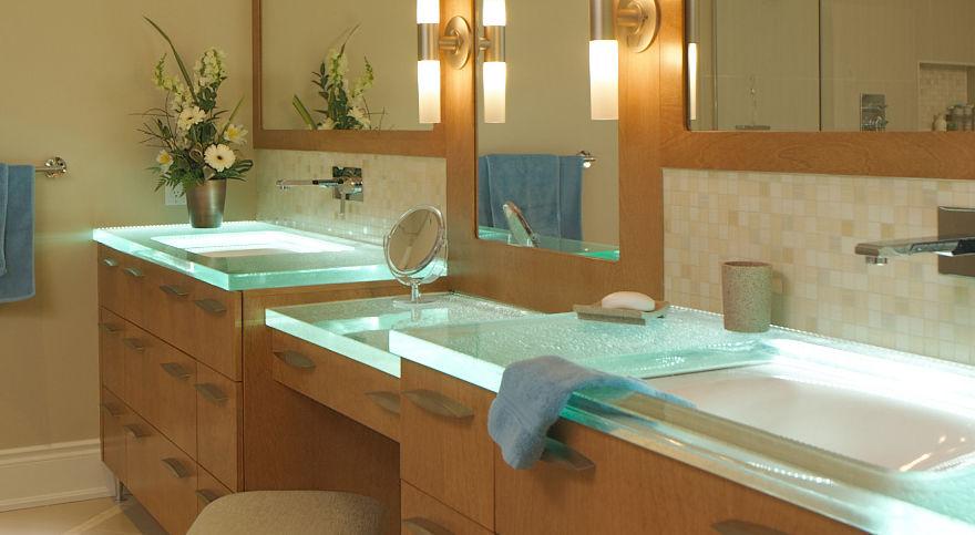 Plan vasque en verre - BATHED IN LIGHT - ThinkGlass