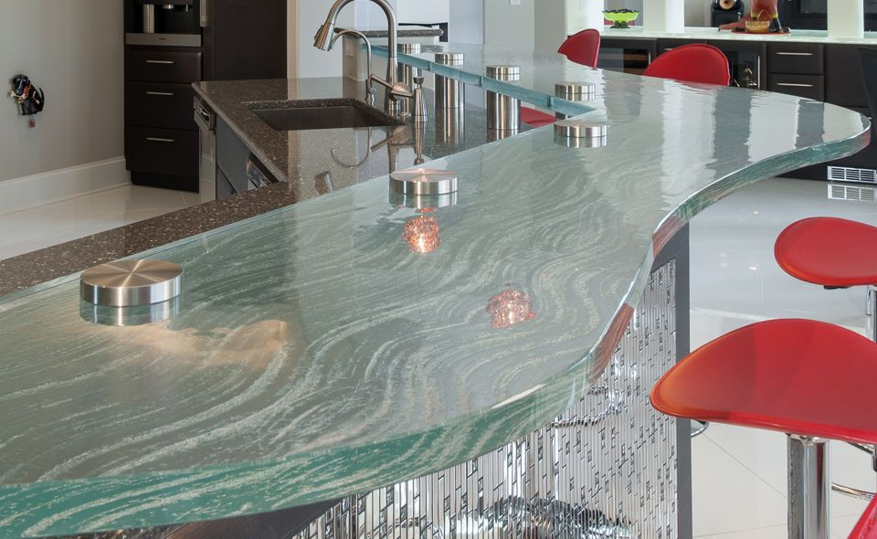Bar De Cuisine En Verre comptoir de cuisine / en verre / courbé - raised bar - thinkglass