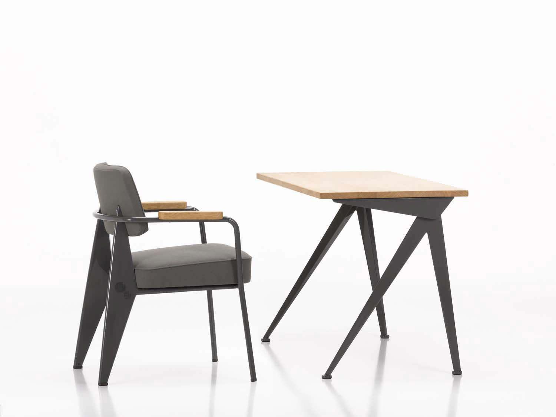 Bureau en bois en acier contemporain par Jean Prouv