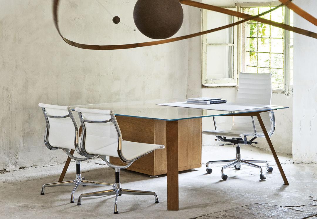 Bureau de direction en bois en verre contemporain one by