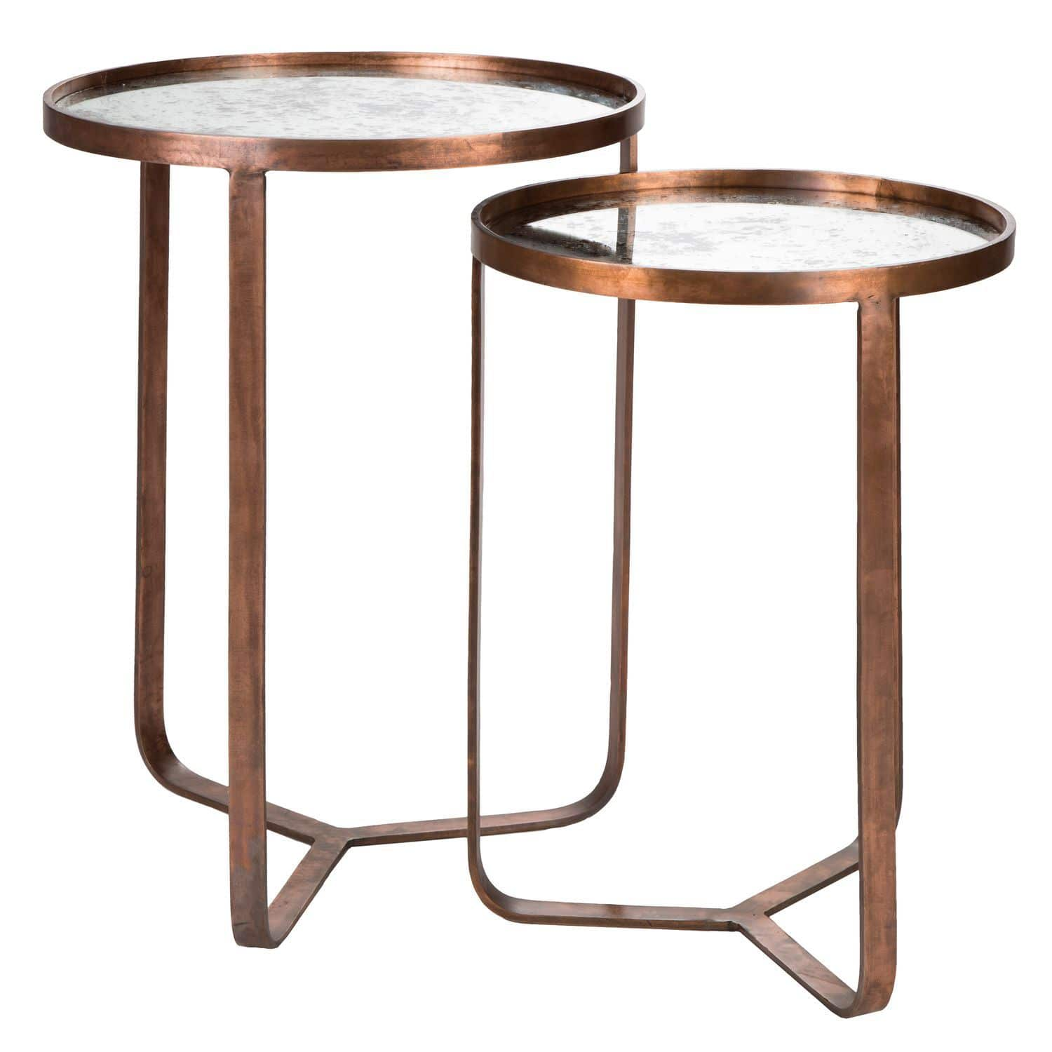 Table Gigogne Contemporaine En Metal Ronde Bob Blanc D Ivoire