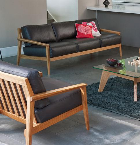 Canapé contemporain en cuir en bois 3 places STANLEY by