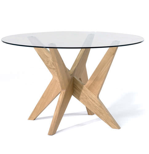 645ba6222c0d1 table à manger contemporaine   en verre   en chêne   ronde - CROSS SIDE by  Matthew Hilton