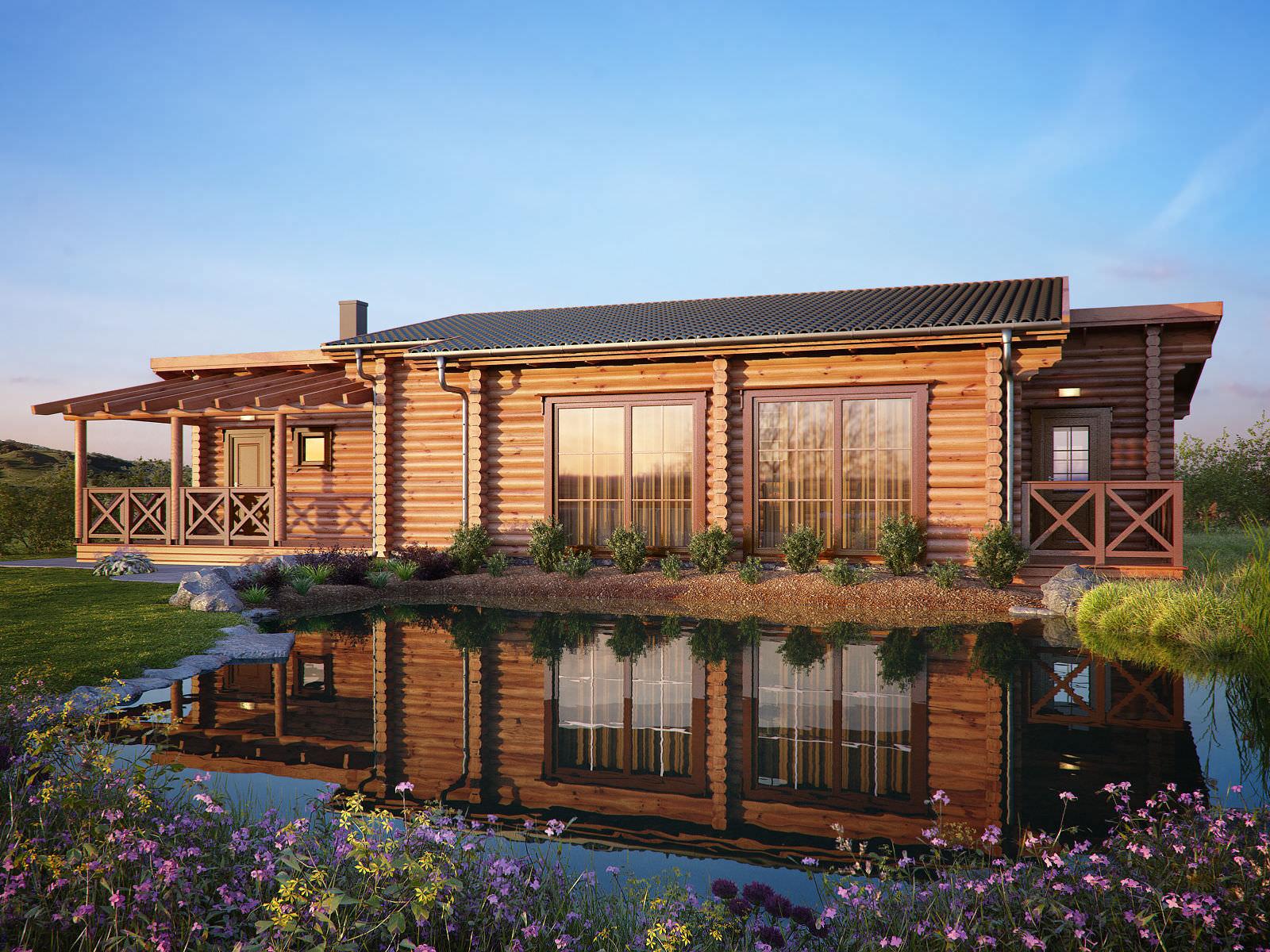 Maison passive / contemporaine / en bois massif / à ossature bois ...