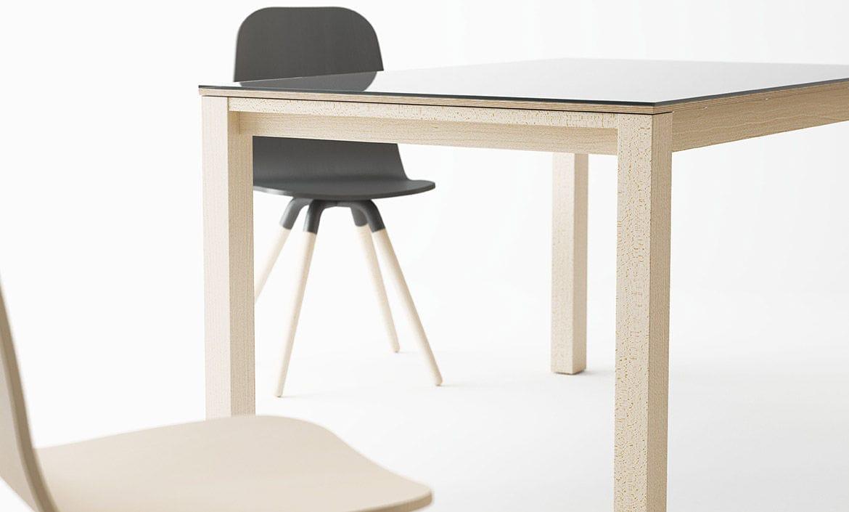 27b22bd0e2f0d9 Table à manger contemporaine   en bois   carrée   à rallonge ...
