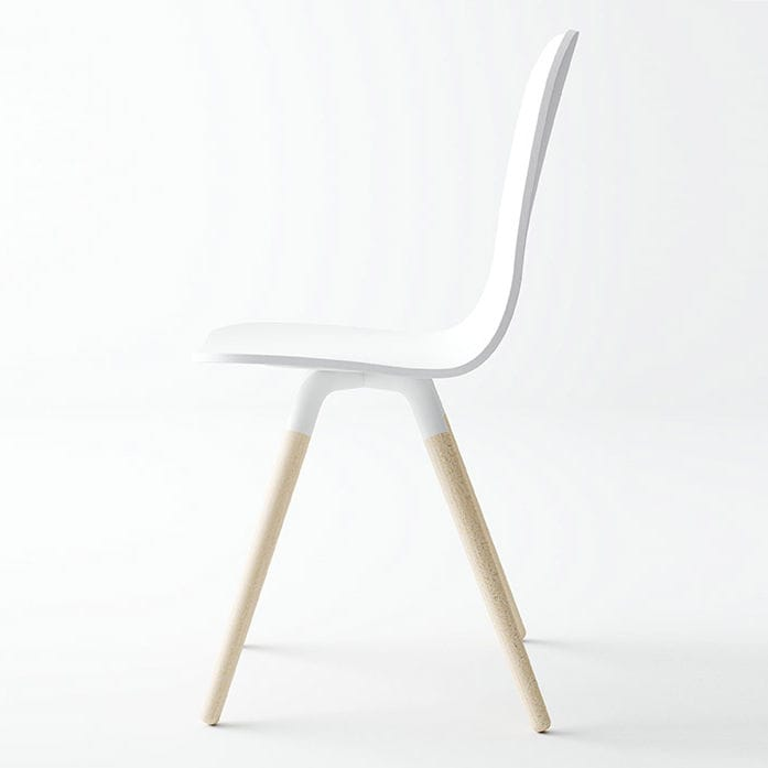 Chaise Design Scandinave Tapissee En Tissu Bois