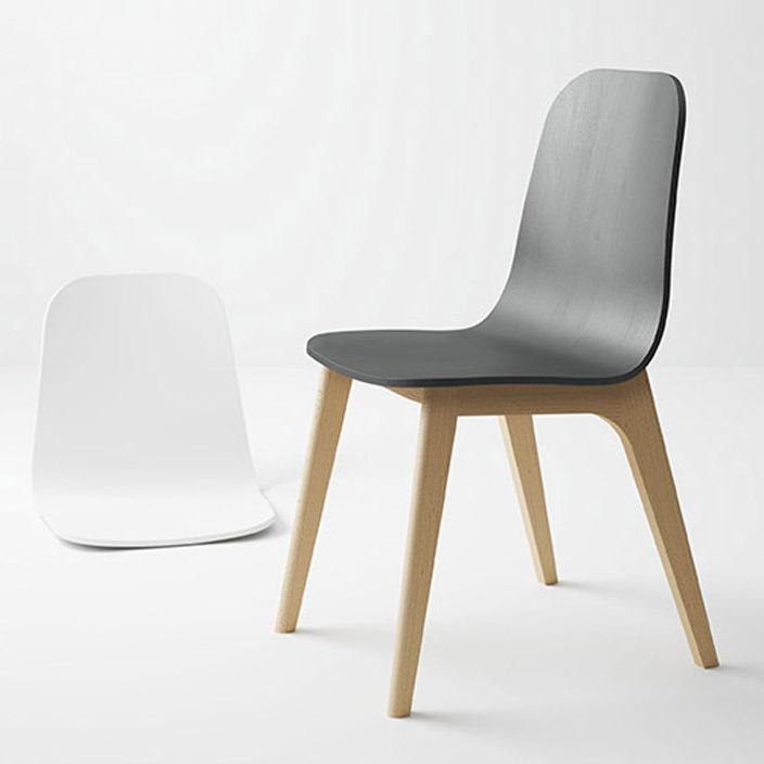 Chaise Design Scandinave Tapissee Ergonomique En Tissu Atlas