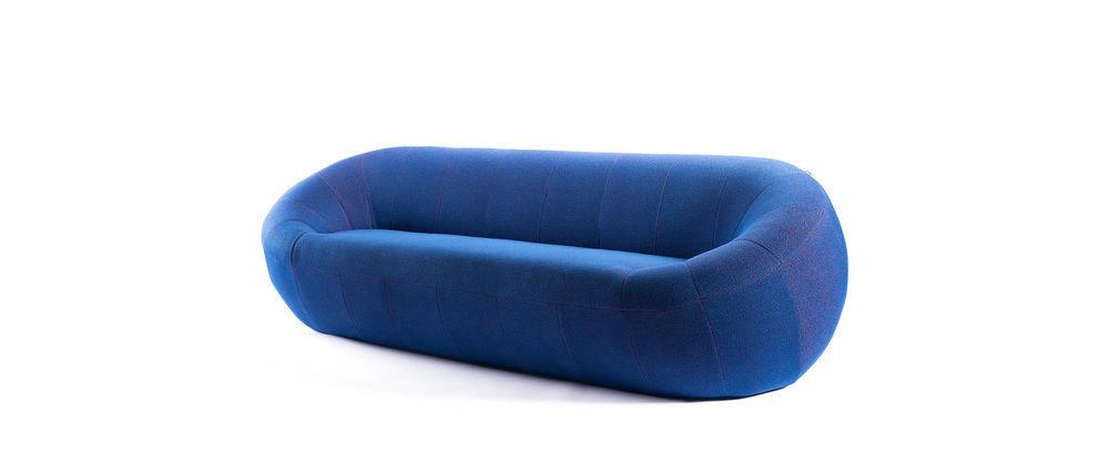 Canapé design original en tissu 2 places bleu CAPSULE