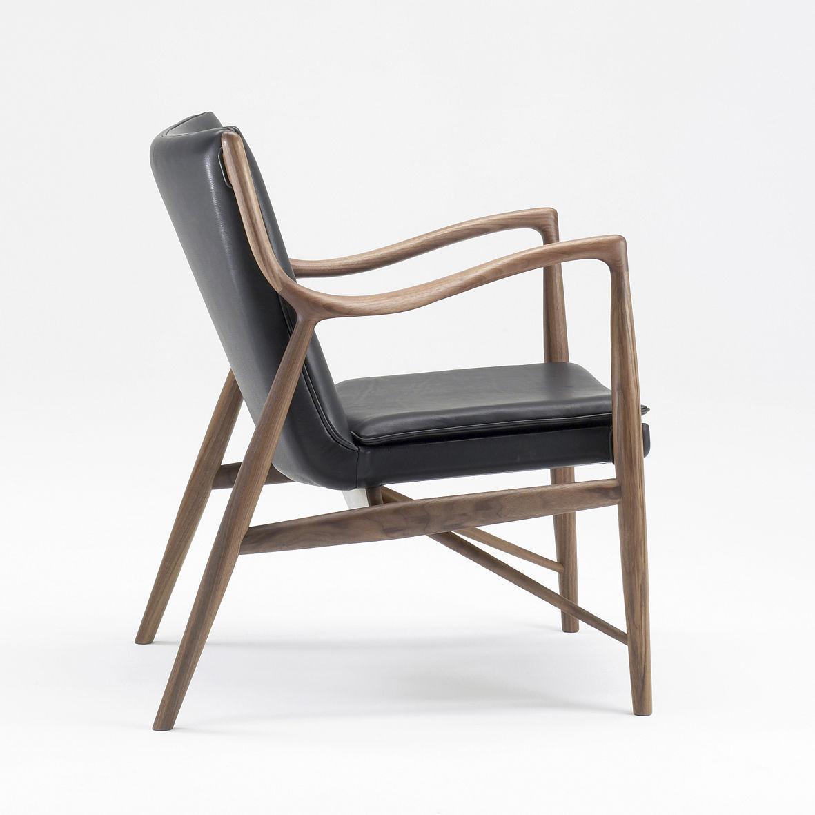 Fauteuil Design Scandinave En Bois En Tissu En Cuir ONE - Fauteuil cuir design scandinave