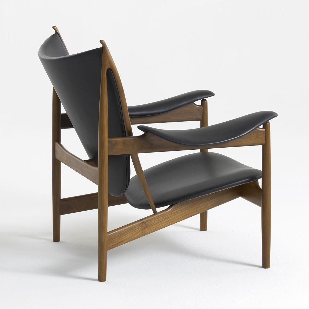 Fauteuil Design Scandinave En Teck En Noyer En Cuir - Fauteuil design scandinave