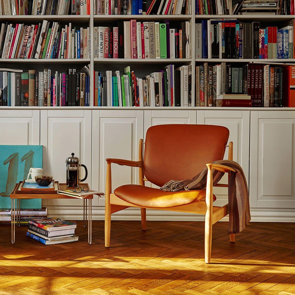 Fauteuil design scandinave en bois en tissu en cuir FRANCE