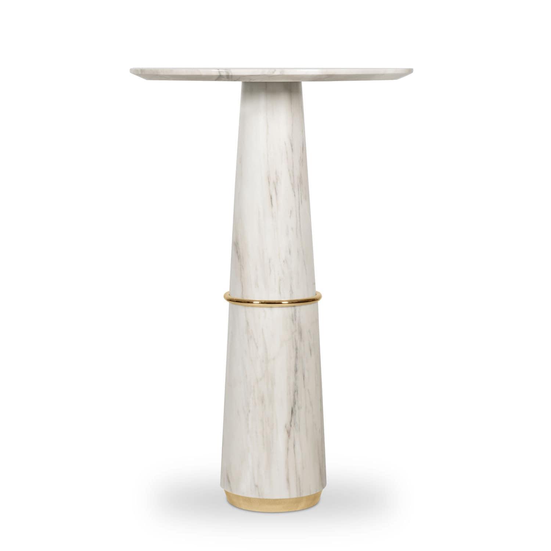 Table mange-debout contemporaine / en laiton / en marbre / ronde ...