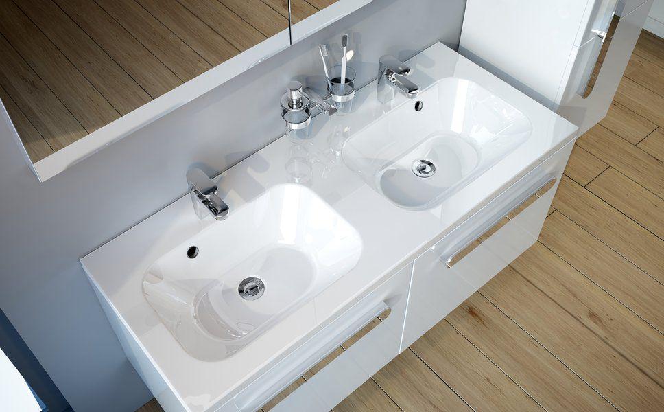Vasque double / à encastrer / rectangulaire / en composite ...