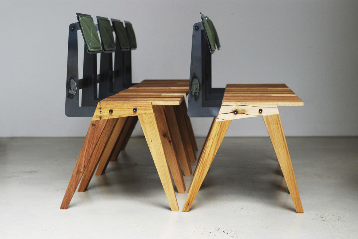 Chaise Design Bauhaus En Materiaux De Recuperation Bois Feuillus Acier