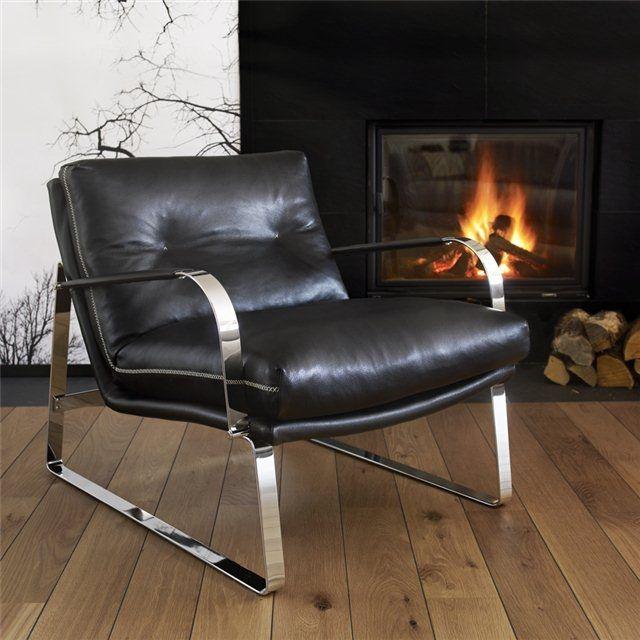Fauteuil Design Scandinave En Tissu En Chrome En Cuir SHABBY - Fauteuil cuir design scandinave