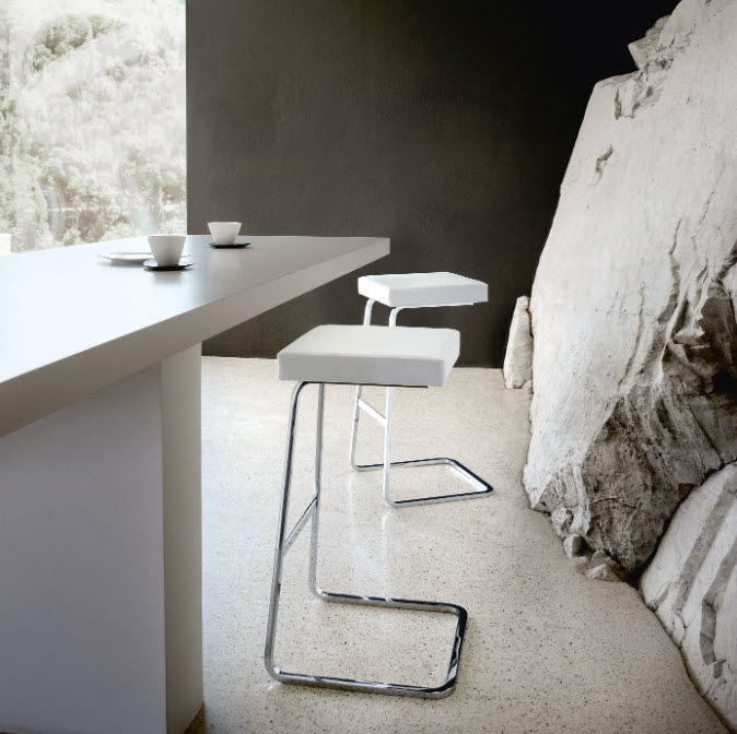 Bar Design Cuir De Tabouret Acier Bauhaus Pour En Y7fgbv6y