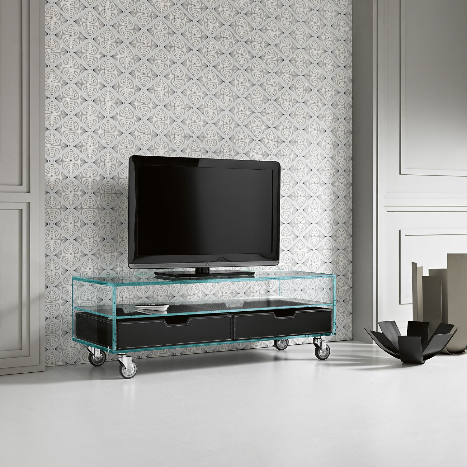 Meuble Tv Contemporain Roulettes En Verre Como Basso By  # Meuble Tv A Roulettes Design