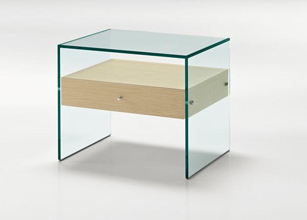 table de chevet contemporaine / en noyer / en bois laqué / en