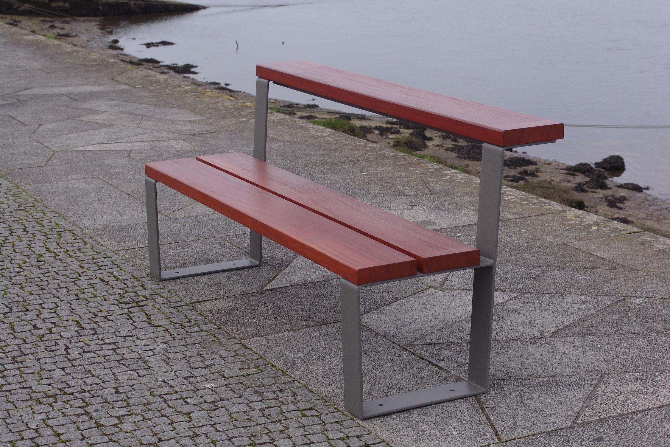 Banc Public Contemporain En Bois En Acier Convertible Table