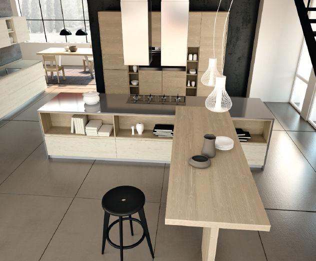 cuisine contemporaine en bois massif en bois avec lot
