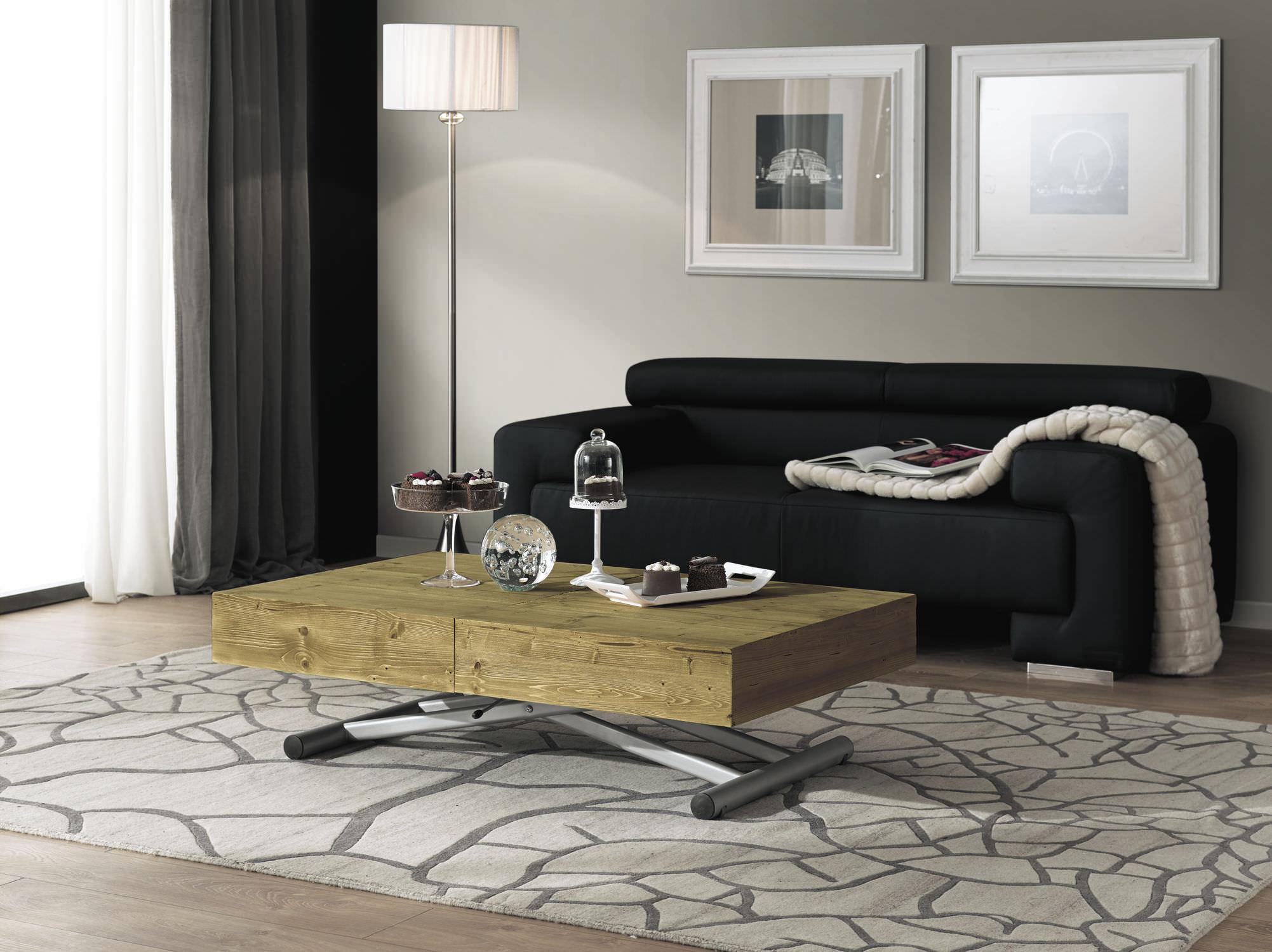 table basse contemporaine en bois rectangulaire hauteur rglable wood and the city home - Table Basse Hauteur Reglable