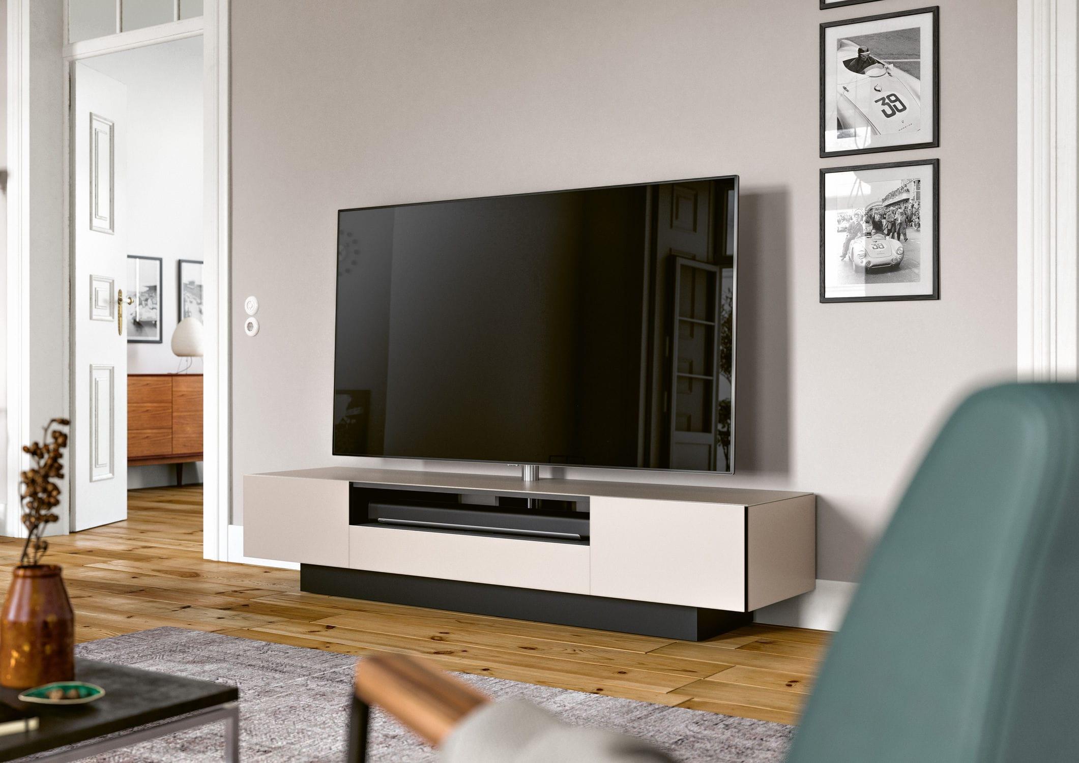 Meuble De T L Vision Contemporain Avec Enceinte Int Gr E En  # Meuble Tv Avec Home Cinema Integre