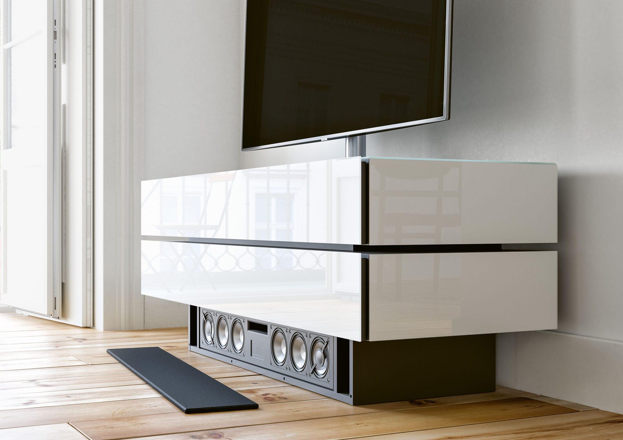 Meuble De T L Vision Contemporain Avec Enceinte Int Gr E En  # Meuble Tv Audio Integre