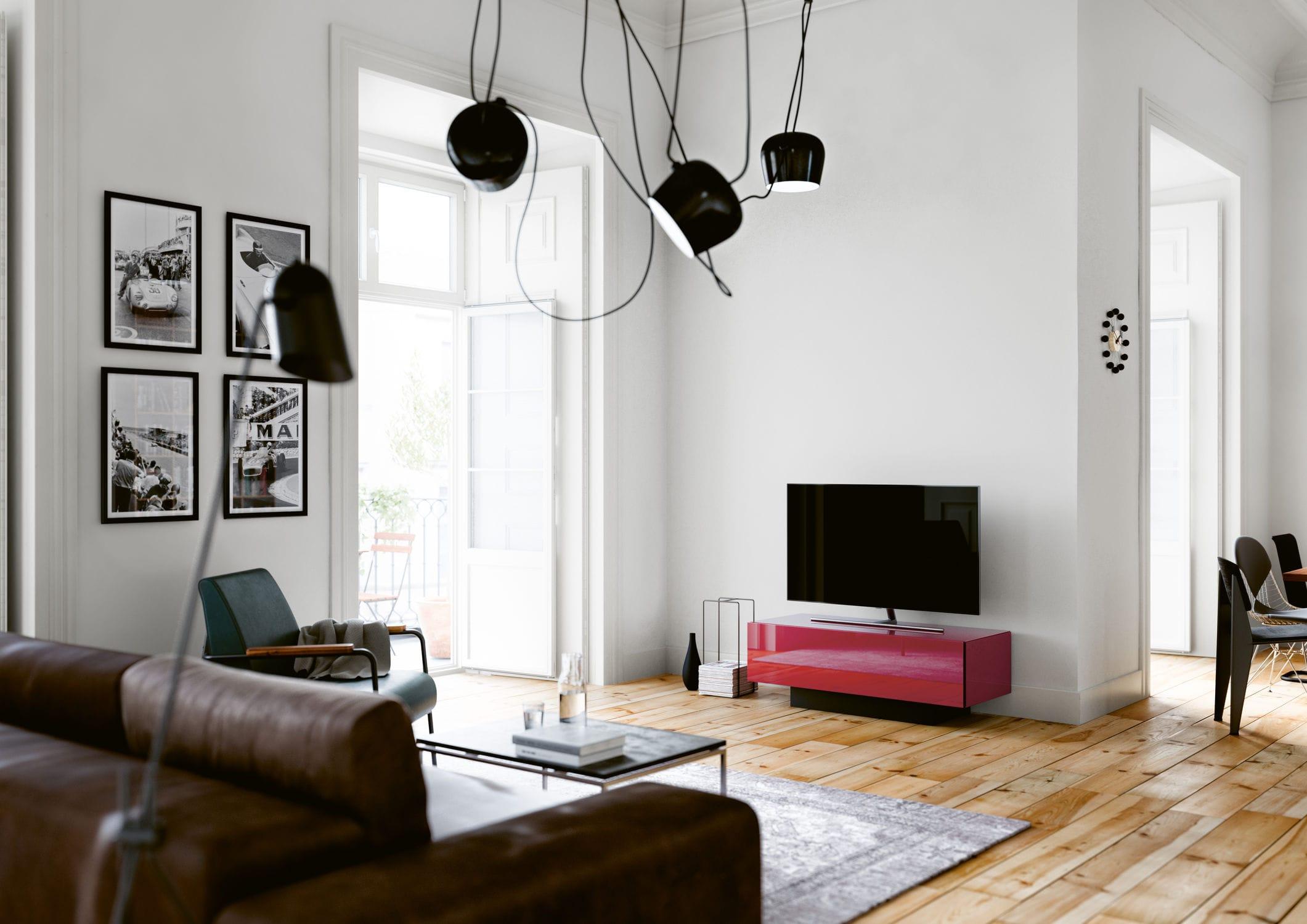 Meuble De T L Vision Contemporain Avec Enceinte Int Gr E En  # Meuble Tv Enceinte